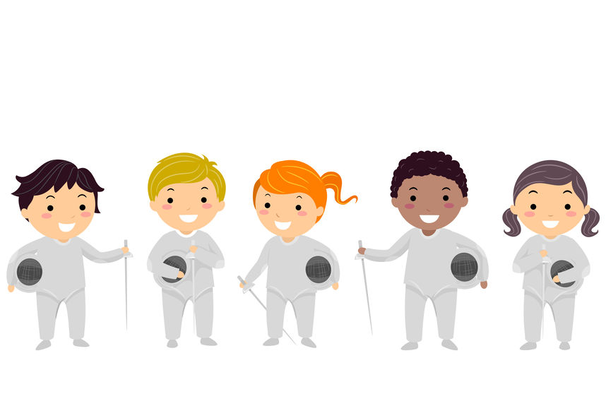 Illustration of Stickman Kids Wearing Fencing Outfit, Sword and Helmet