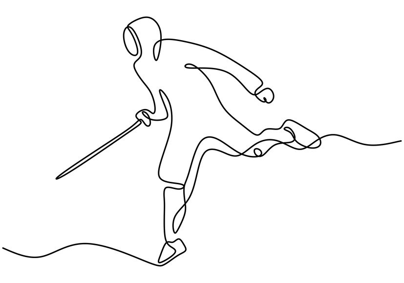 Fencer Line Drawing